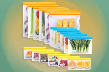 Set of reusable food storage bags with produce items in them over yellow and green background.