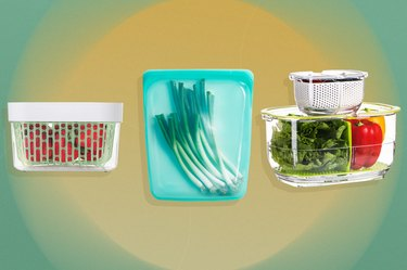 Food storage containers and a silicone produce storage back over yellow and green background.