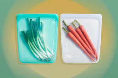 Two plastic produce bags with green onions and carrots over yellow and green background.