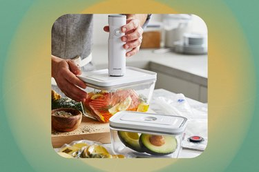 Person using hand vacuum to seal bag of raw, seasoned salmon in food container.