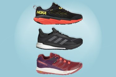 collage of the best waterproof running shoes of 2021 isolated on a blue background