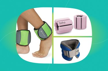 collage of the best ankle weights of 2021 isolated on a teal background