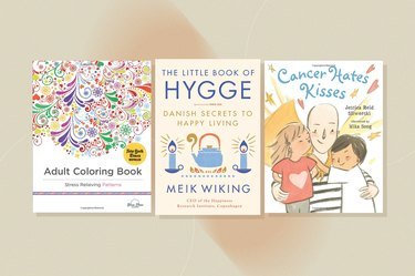 a collage of books, as a gift for people with cancer