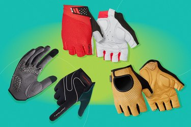 collage of the best biking gloves of 2021 isolated on a green background