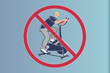 illustration of a man using an elliptical with a do not sign over it