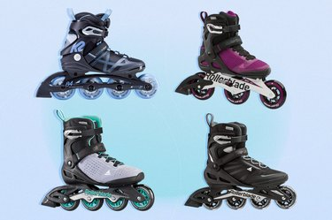collage of the best rollerblades of 2021 isolated on a light blue and purple background