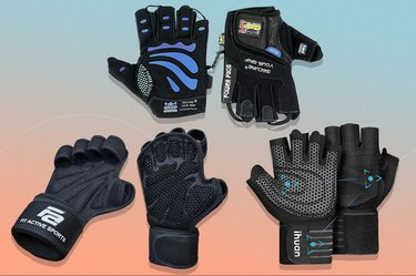 collage of the best weightlifting gloves of 2021 isolated on a light blue and pink background