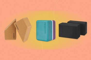 collage of the best yoga blocks on a peach background