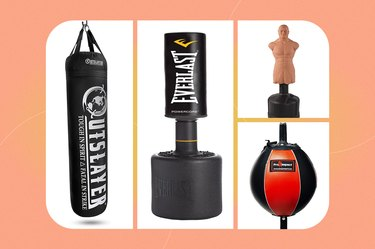 collage of the best punching bag for home workouts isolated on a peach background