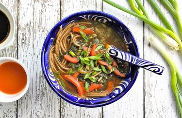 Healthy Asian Veggie and Soba Noodle Soup Plant Based Dinner Recipes