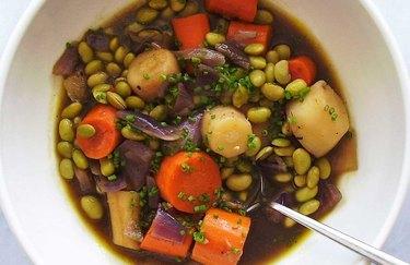 Saucy Braised Root Vegetable Entrée Plant Based Dinner Recipes