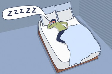 Illustration of a person snoring while sleeping in bed