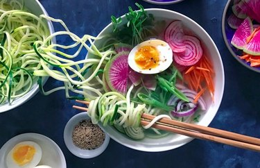 Vegetable Ramen with Zucchini Noodles Plant Based Dinner Recipes