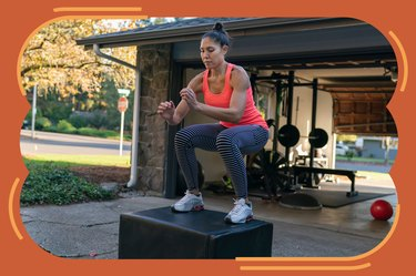 woman in orange tank top doing box jump burpee variation in driveway at home