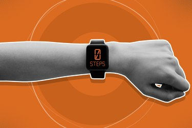 Graphic of an arm wearing a smartwatch that shows 0 steps on the display