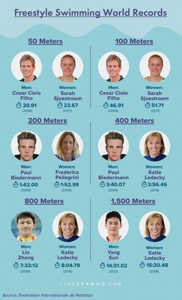 swimming world records statistics graphic showing freestyle swimming world records
