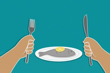 An illustration of tilapia on a plate with hands holding a fork and knife in the foreground