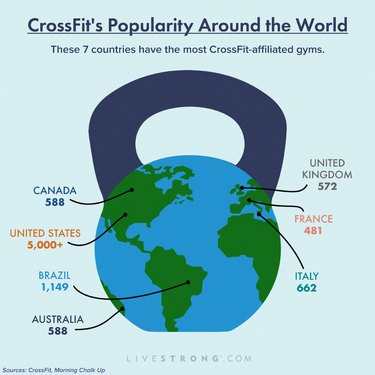 graphic showing how many CrossFit gyms there are in the world