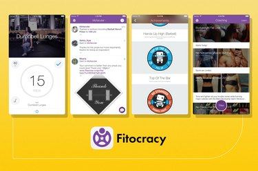 screenshots of fitocracy fitness app on yellow background