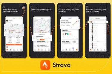 screenshots of strava fitness app on yellow background