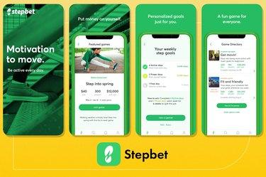 screenshot of stepbet fitness app on yellow background