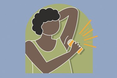 Illustration of a person putting on antiperspirant and wondering if antiperspirant is bad for you