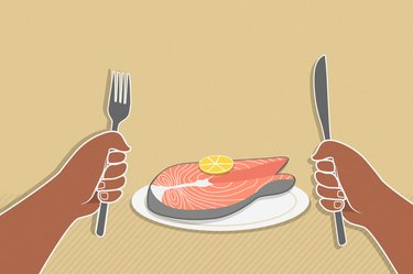 custom graphic showing hands holding fork and knife with salmon on plate