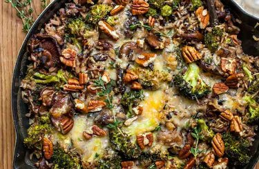 One Pan Wild Rice and Cheesy Broccoli Casserole