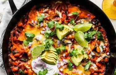 Spinach Artichoke Skillet Enchiladas