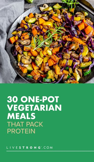 pin showing  30 One-Pot Vegetarian Meals That Pack Protein