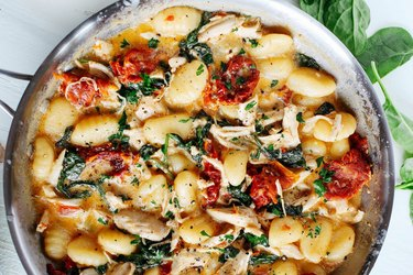 One-Skillet Sun Dried Tomato Chicken and Gnocchi