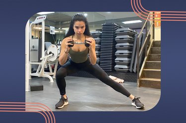 Woman doing a side lunge with a single dumbbell during a side butt workout at the gym