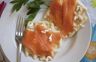 Waffles with Feta and Smoked Salmon anti-inflammatory breakfast recipe.