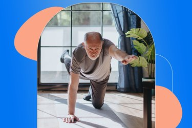 man doing bird dog exercise on gray yoga mat at home as part of 30-day abs challenge