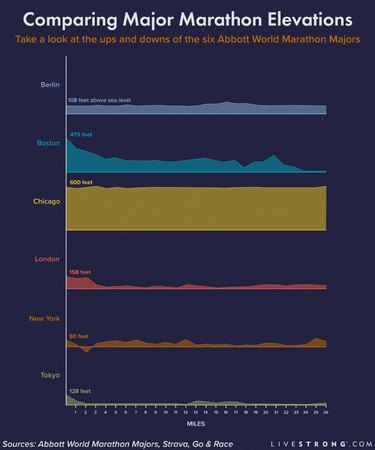 infographic showing marathon elevation charts for the 6 major marathons