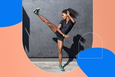 woman doing high kick as part of HIIT workout for abs