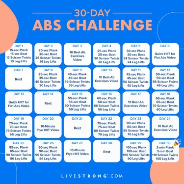 square 30-day abs challenge calendar graphic