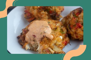 Easy Air Fryer Fish Crab Cakes on a white plate