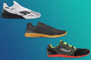 three of the best CrossFit shoes of 2021 isolated on a teal background