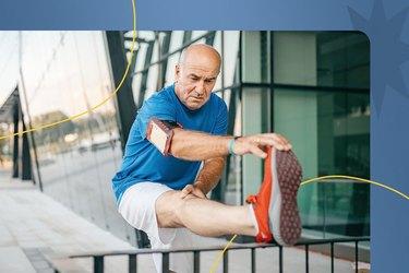 older adult doing a leg stretch outside