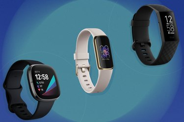 collage of the best Fitbits isolated on a blue and teal background