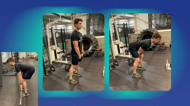 athletic man doing a cable stiff leg pull-through exercise at the gym