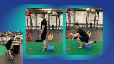 athletic man doing a single-leg squat on a blue mat