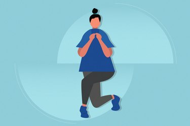 illustration of a woman doing a curtsy lunge on a blue background