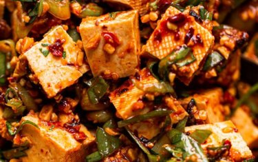 No-Cook Spicy Tofu with scallions and a red sauce