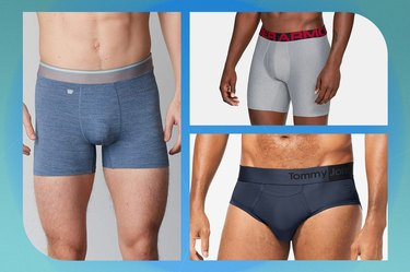 collage of men's athletic underwear on a blue-green background