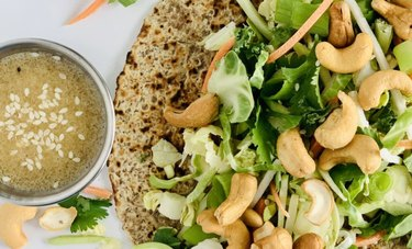Cashew Crunch Wrap with sesame seed dressing