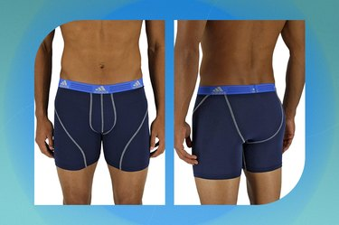 navy adidas sport performance boxer briefs on a blue-green background