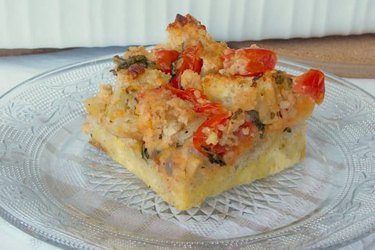 High Protein Tomato Parmesan Breakfast Casserole on a clear dish