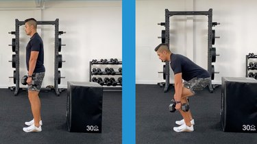 male trainer doing the dumbbell deadlift with good form in the gym
